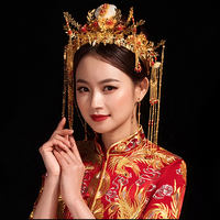 Xiuhe tiara female 2019 new bride wedding atmosphere Chinese wedding show Wo clothing Feng Guan Xia ancient costume flow comb