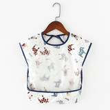 Baby eating gowns girls waterproof summer thin section children's apron boys cotton sleeveless baby bib rice pocket