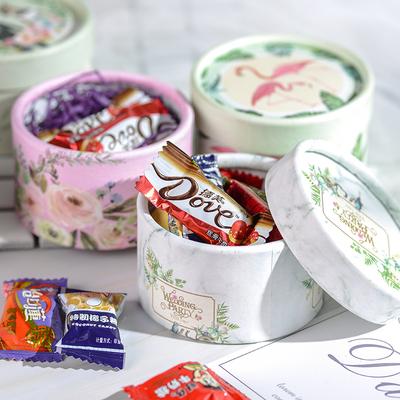 结婚喜糖礼盒含糖成品婚礼糖果包装盒子圆筒伴手礼满月生日回礼盒