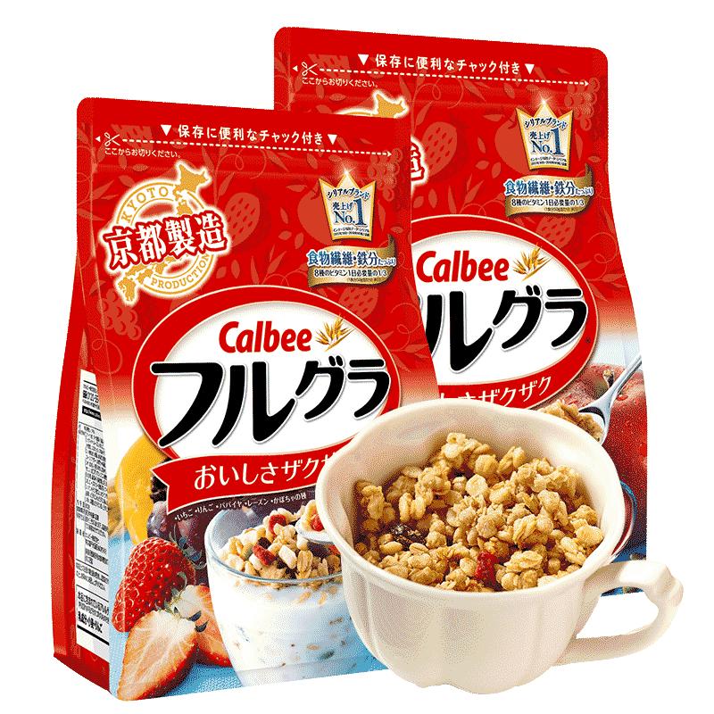 2袋Calbee富果乐卡乐比水果燕麦片700g日本零食即食冲饮儿童早餐