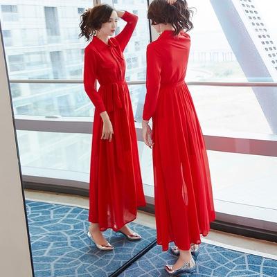 秋款女2018新款长袖红色衬衫修身气质雪纺连衣裙及踝chic长裙仙女