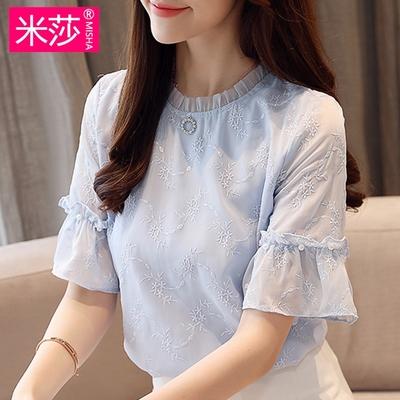 雪纺衫女短袖夏2018新款宽松遮肚子显瘦半袖超仙气质飘逸蕾丝上衣