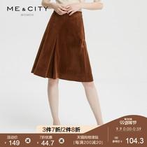 折|MECITY女装简约优雅复古chic灯芯绒半裙