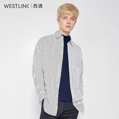 西遇男装2018春季新款纯棉不对称黑白条纹弧形下摆衬衫男长袖休闲