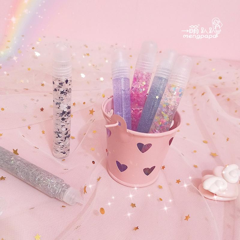 创意炫彩心星水晶泡泡笔透明立体果冻仙女笔DIY6色亮片手工制作棒