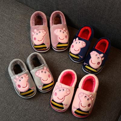冬季儿童棉拖鞋女包跟卡通毛毛防滑软底亲子宝宝拖鞋冬1-3岁2男童