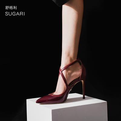 漆皮酒红色高跟鞋女细跟交叉绑带一字扣尖头浅口欧美性感10cm单鞋