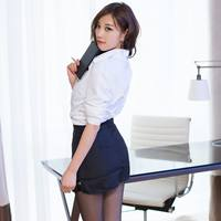Sexy sexy lingerie female secretary ol tight-fitting bag hip skirt open file temptation white-collar professional wear adult Sao