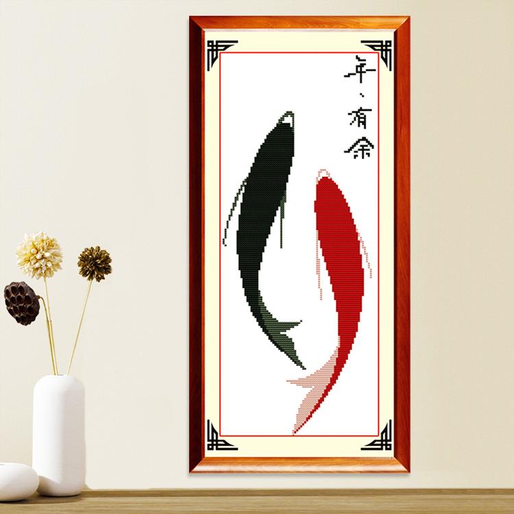 客厅简单新手小幅学生简约现代鱼福图系列 印花十字绣年年有余新款