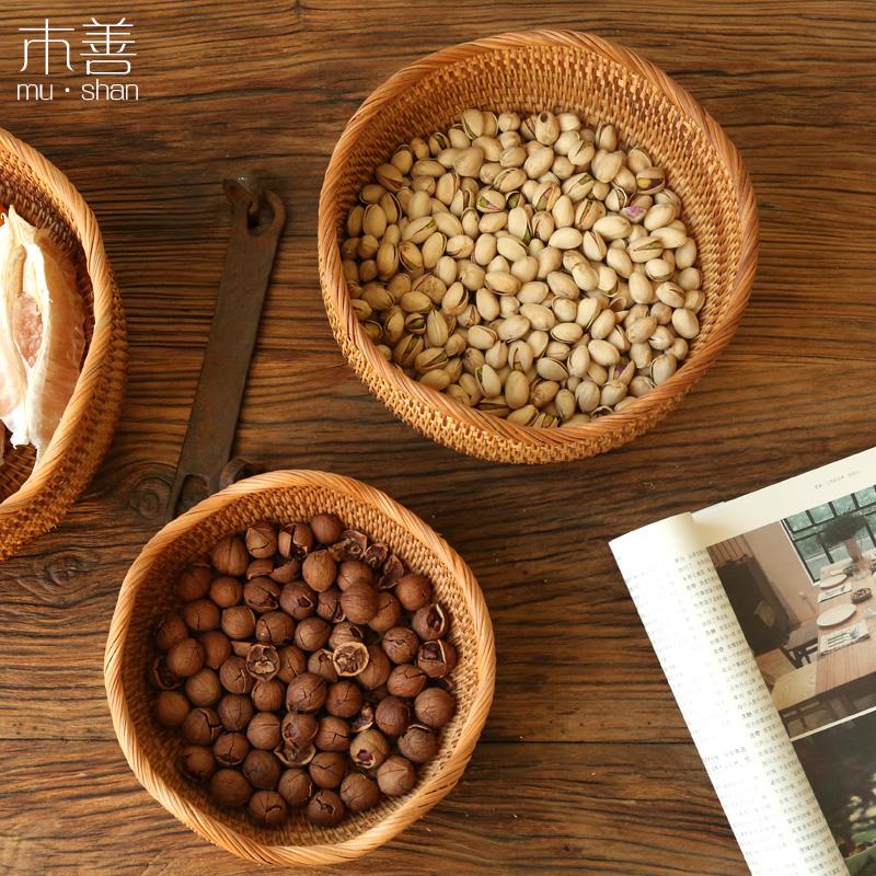 越南藤编点心盘 家居水果盘 零食筐 糖果篮 茶点盒 茶几收纳筐