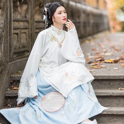 夜微凉汉元素原创对襟绣花长褙子明制立领长袖加绒长袄绣花马面裙