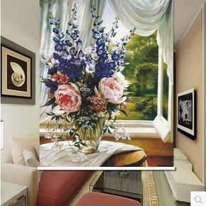 北欧油画花朵卷帘家用隔断帘全遮光卧室升降帘 窗帘隔热客厅橱窗