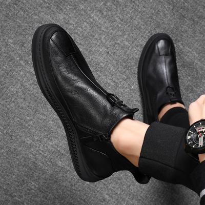 冬季男鞋真皮鞋子男潮鞋韩版潮流英伦柔软底防滑男士休闲皮鞋加绒