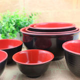 Red and black plastic bowl imitation porcelain melamine black and red bowl commercial round 10 package postal home rice w