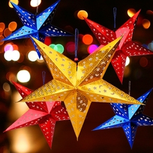 Christmas ornaments, three dimensional laser, five angle star ceiling decoration, bar, shopping malls, festival decorations.