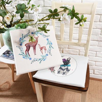 松果屋 花环动物棉麻椅垫加厚餐桌椅垫布艺电脑家用椅海绵垫定制年货节折扣