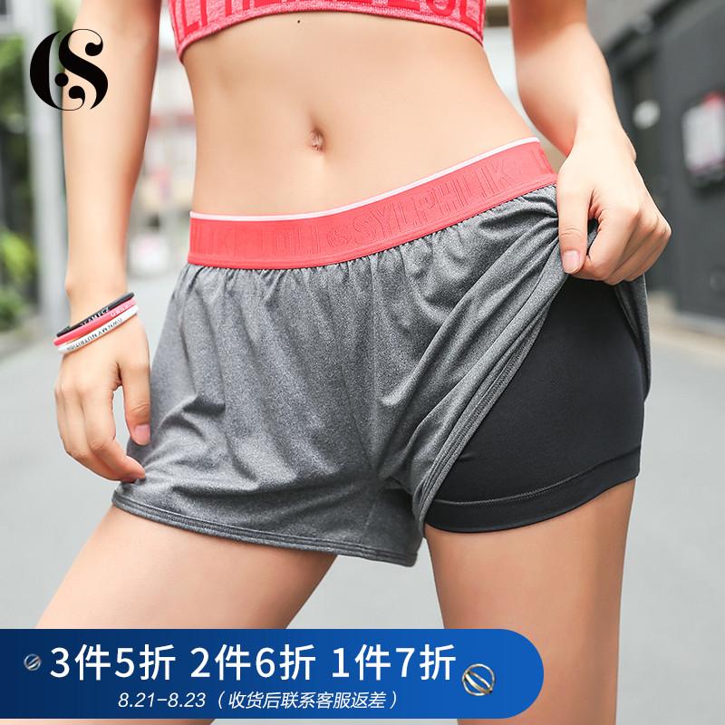 暴走的萝莉 速干运动短裤女假两件健身训练瑜伽跑步热裤防走光