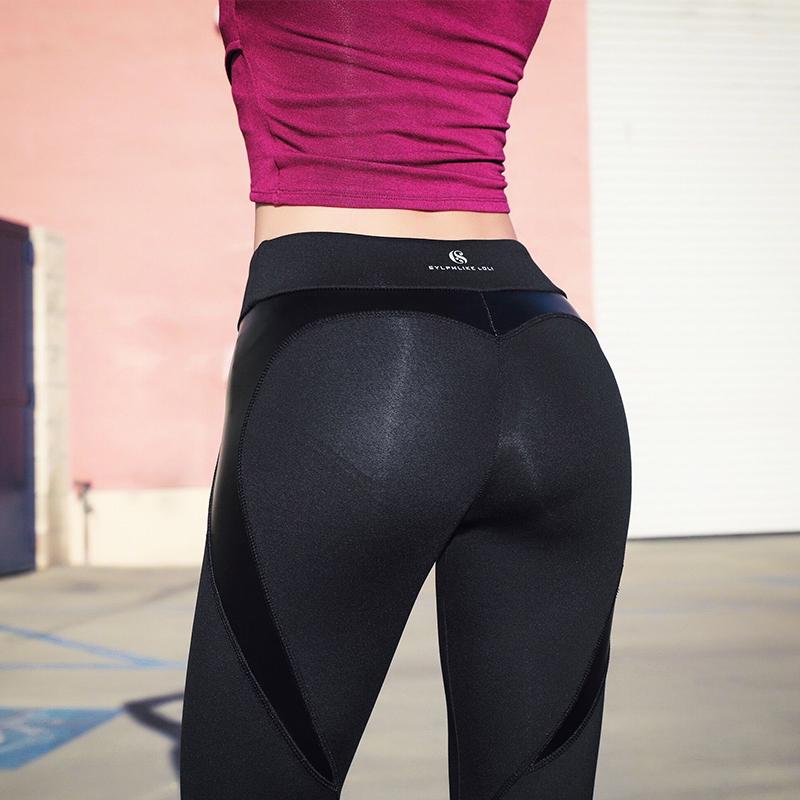 暴走的萝莉  时尚拼接运动长裤女速干弹力透气瑜伽训练健身紧身裤