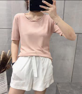 欧洲站2018夏装新品韩版时尚女装简约款显瘦百搭冰丝衫薄款上衣女