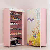 加厚时尚无纺布大学生寝室简易鞋架家用门口多功能收纳防尘布鞋柜