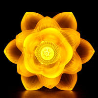 Colorful glass lotus lamp Buddha for light crystal Changming lotus lamp home plug-in LED Buddha headlights for Guanyin