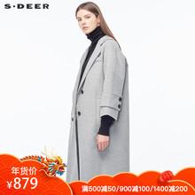 sdeer圣迪奥女装简约平驳领插肩袖H型长款大衣S18461874图片