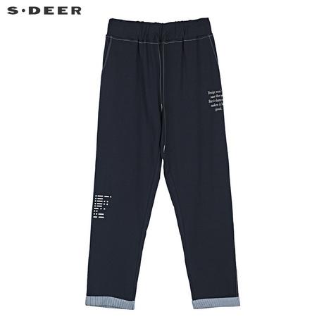 sdeer 圣迪奥休闲新潮松紧系带字母印花高腰长裤S19180804商品大图