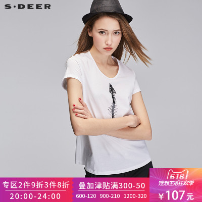 sdeer圣迪奥2018女夏装趣味鱼骨印花圆领短袖全棉T恤S17280124