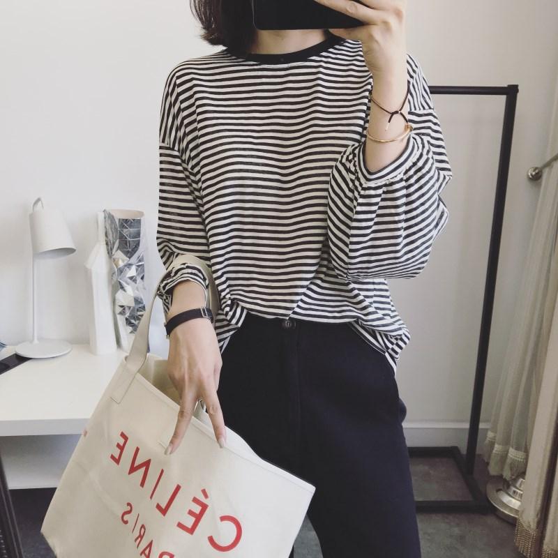 justq秋装新品韩国经典细条纹灯笼长袖打底衫宽松显瘦T恤女上衣