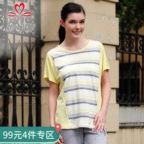 康妮雅夏季女装 女士棉质横条纹短袖T恤上衣
