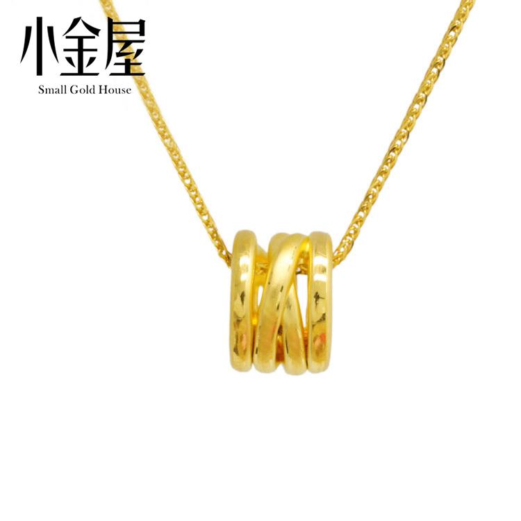 小金屋 3D硬金999足金 弹簧转运珠 纯黄金吊坠手链串珠项链手链女