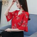 半袖雪纺衫女2019新款夏季韩版飘逸上衣五分袖超仙洋气小衫遮肚子
