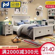 韩式田园公主实木床欧式床女孩床美式田园套房家具儿童床1.5米