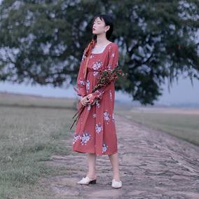 北冥有渔【向日焰火】复古文艺红色印花连衣裙长袖森系民国风长裙