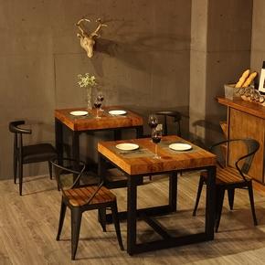 北欧复古实木铁艺餐桌椅组合正方形小餐桌饭桌工业风小方桌四方桌