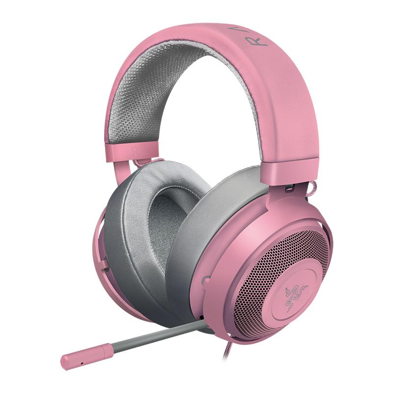 雷蛇粉晶套装键鼠北海巨妖耳机机械键盘锐蝮蛇游戏鼠标猫耳朵粉色