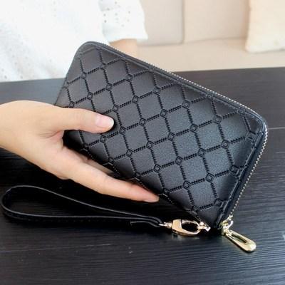 2018秋新款菱格女士钱包韩版长款拉链包男式手拿包手机包复古皮夹