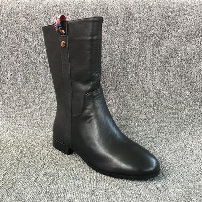 2018年秋冬季新款断码真皮处理女鞋时尚圆头低跟侧拉链加绒中筒靴