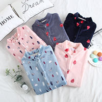Single-piece blouse pajamas women's autumn and winter long-sleeved thick winter round neck coral velvet home service pajamas tops