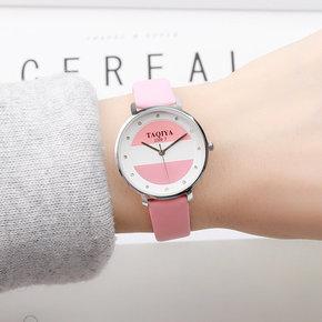 韩版时尚简约甜美糖果色女学生手表日系软妹森系闺蜜女式撞色手表