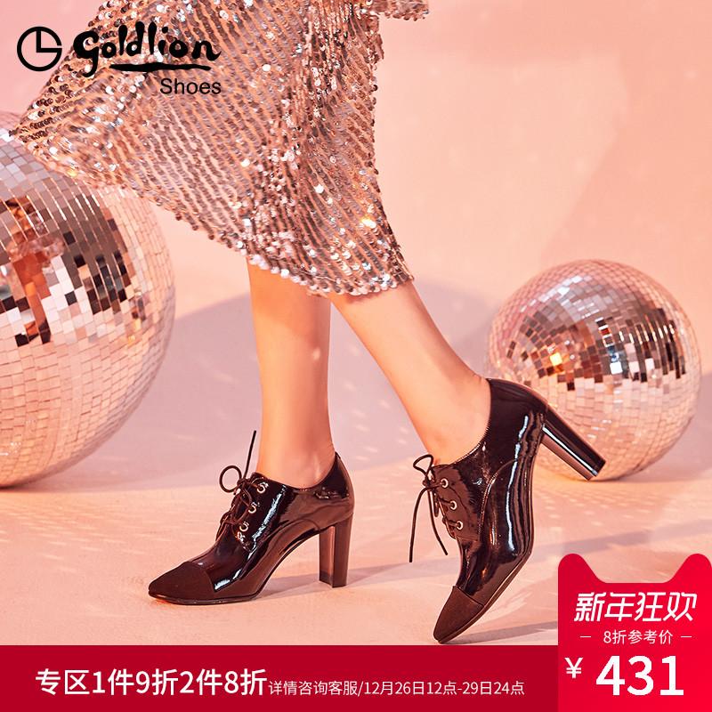 金利来2018秋季新款高跟鞋粗跟时尚真皮鞋系带英伦风单鞋深口女鞋