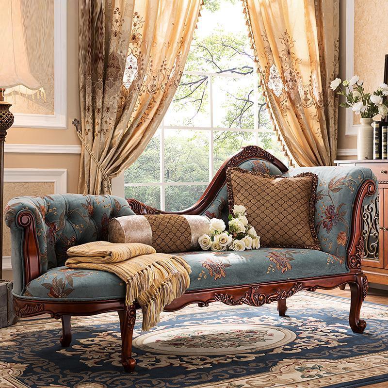 美式贵妃躺椅 布艺沙发贵妃榻卧室实木美人榻 欧式贵妃椅