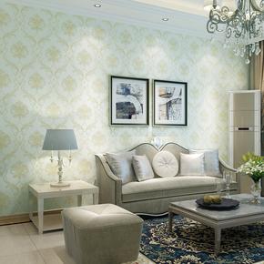 华夏墙纸 客厅卧室餐厅走道背景墙纸无纺布壁纸 奢华欧式烫金植绒