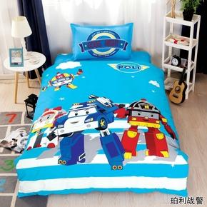 床上用品全棉四件套变形警车珀利警车卡通床单被套三件套白雪公主