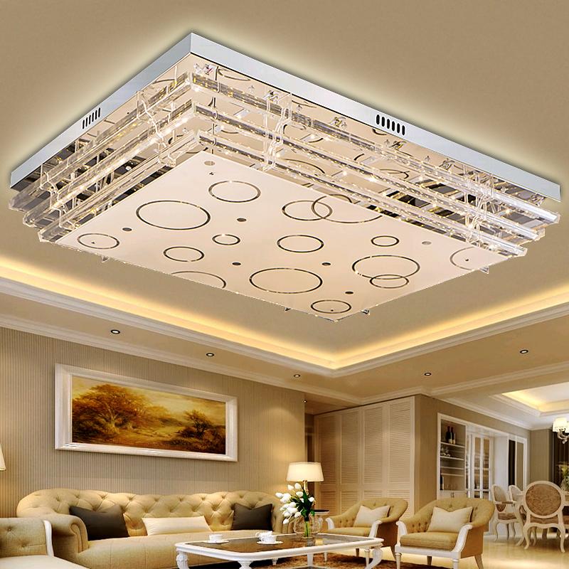 平板水晶灯led客厅长方形