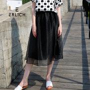 erlich2018夏季新款韩版高腰欧根纱半身裙女A字百褶裙