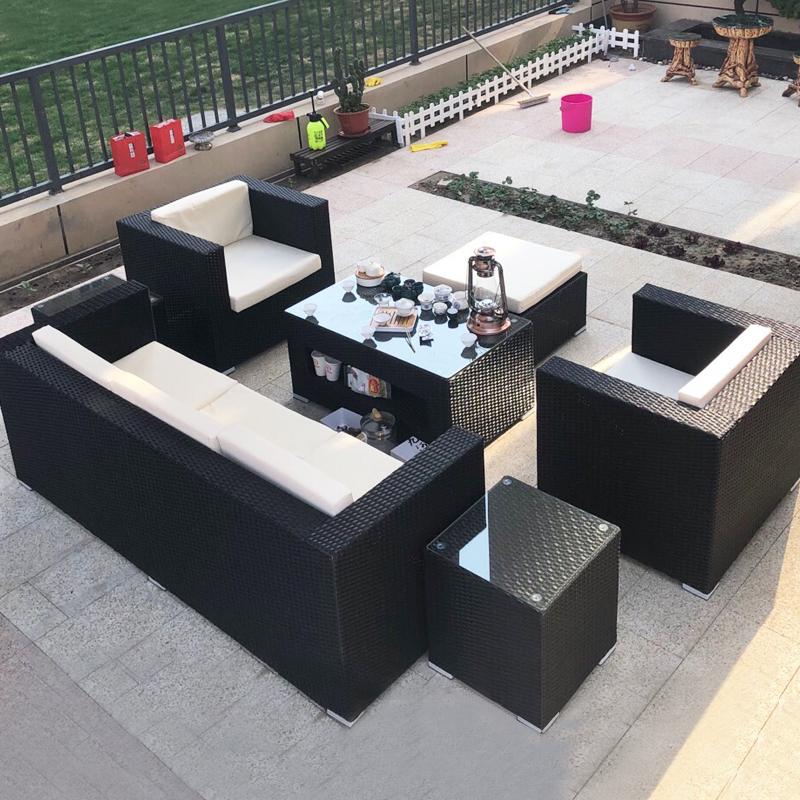 阳台仿藤沙发户外 室外藤编沙发组合 庭院花园藤椅沙发躺床家具