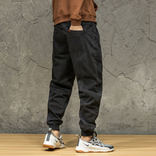 Black jeans men's loose-fitting large-size casual Hallen trousers with velvet and thicker fashion tights in autumn and winter