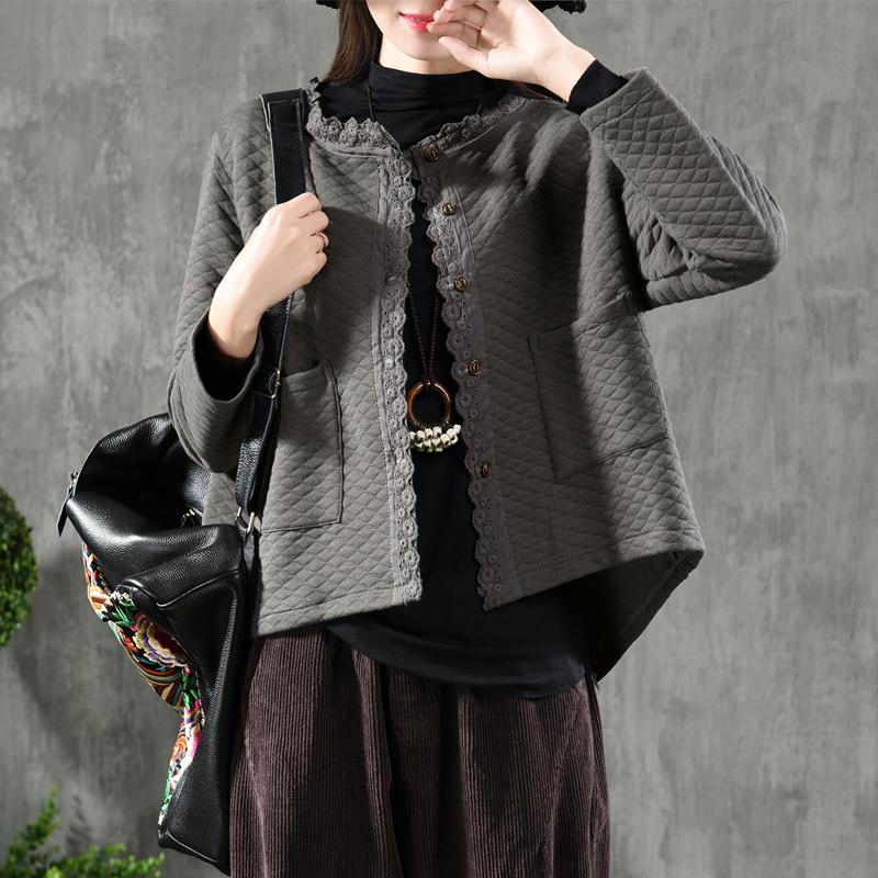 园园美衣 Retro Literary rhombic lace short coat female loose long sleeve small cardigan cotton