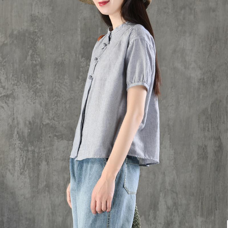 园园美衣复古文艺盘扣棉麻上衣女短袖宽松显瘦亚麻T恤民族风夏装